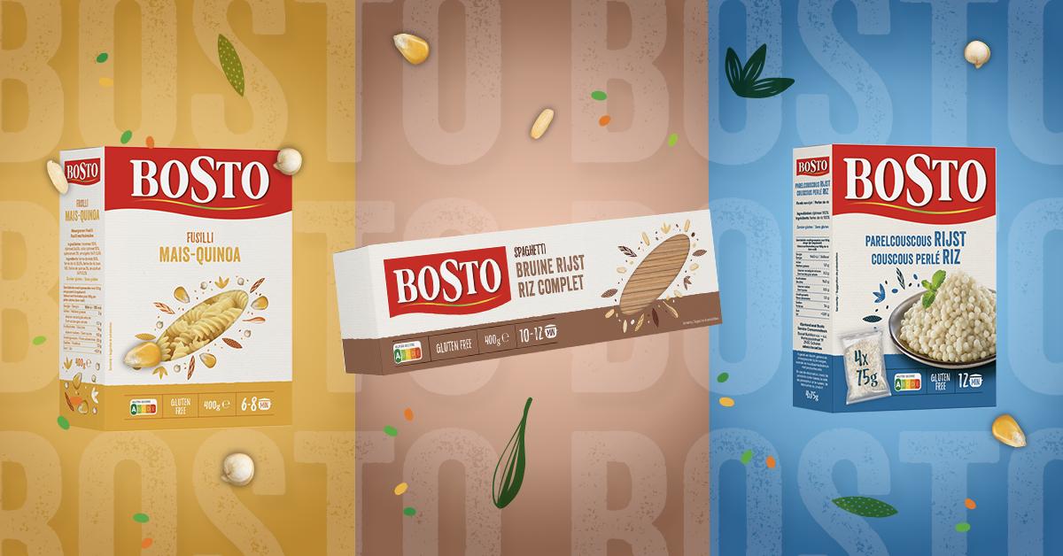 Bosto, pasta zonder tarwe, quinoa, bruine rijst, parelcouscous