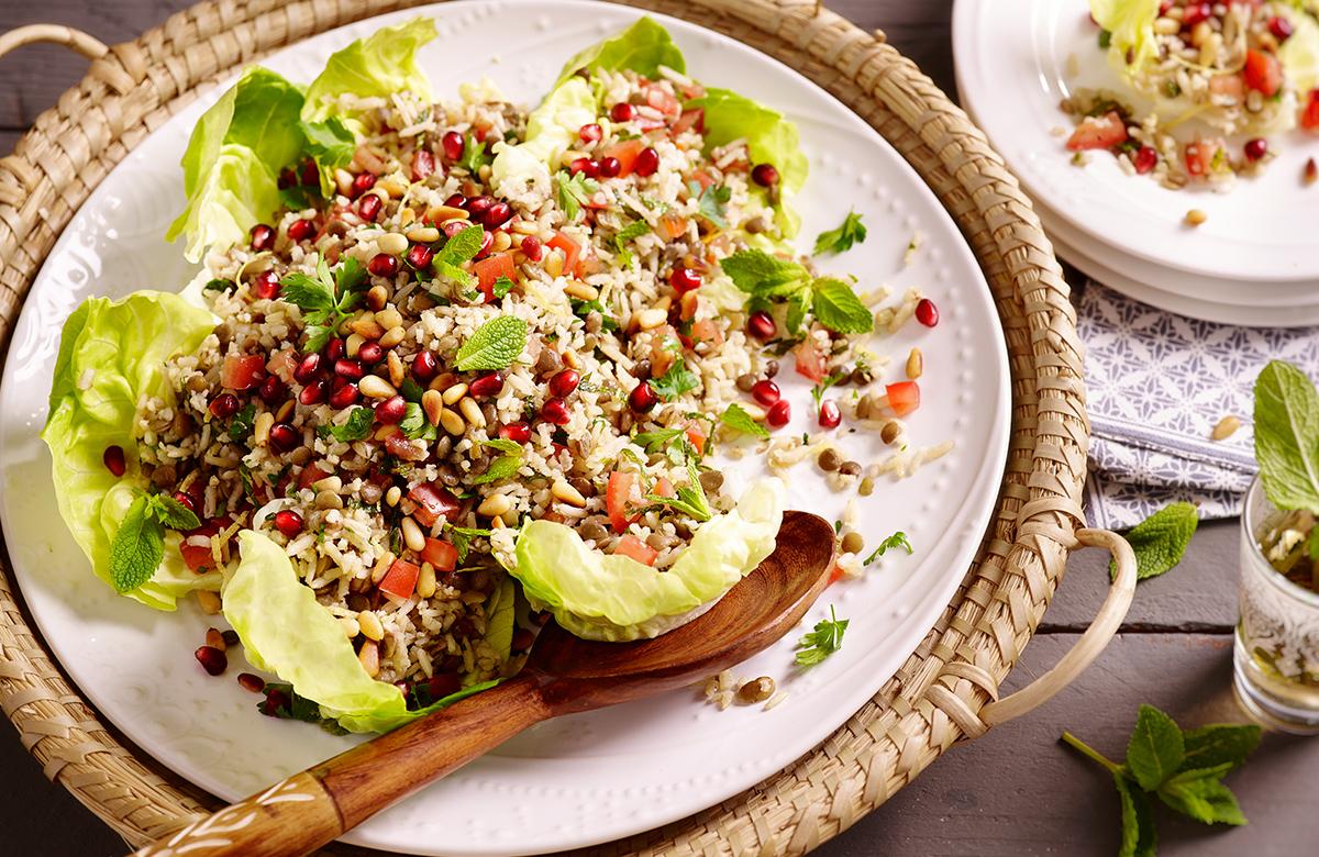 Bosto, Salade de lentilles, riz à la libanaise
