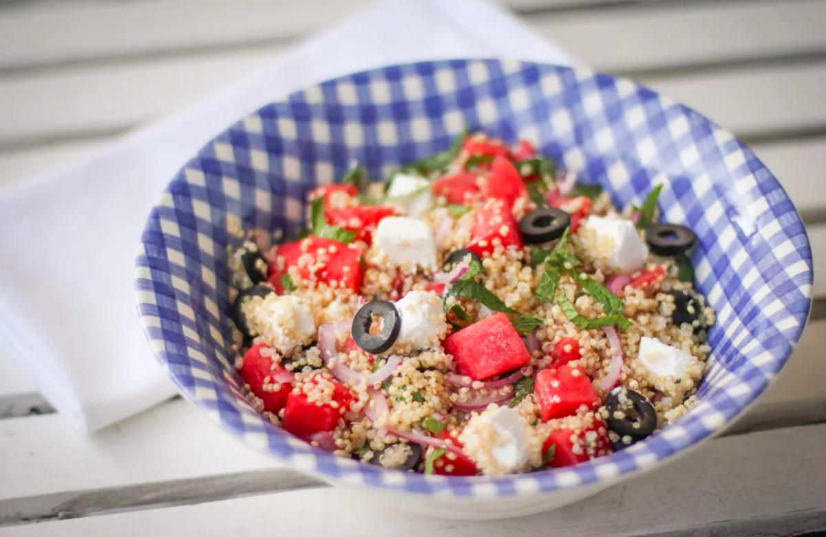 Bosto,Salade de quinoa,pastèque, feta